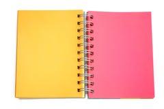 Leere Farbseite des Notizbuches Stockbilder