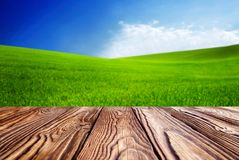 Leere Fliesen an hölzerner tabel Landschaft mit grünem Gras und blauem Himmel mit Wolken auf dem Bauernhof am sonnigen Tag des sc lizenzfreies stockfoto
