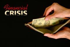 Leere Geldbörse mit einem Dollar auf schwarzem Hintergrund Stockfoto