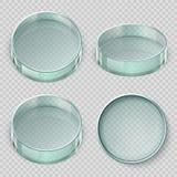 Leere Glas-Petrischale Biologielabor richtet die Vektorillustration an, die auf transparentem Hintergrund lokalisiert wird stock abbildung