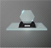 Leere Glaspreistrophäe auf einem transparenten Hintergrund Glasregal Stockfoto