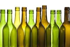 Leere Glaswein-Flaschen Stockfoto
