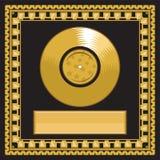 Leere goldene LP-Diskette im Rahmen Stockbilder