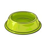 Leere grüne glänzende Plastikschüssel für Haustier, Katze, Hundefutter stock abbildung