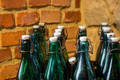 Leere grüne und braune Weinleseflaschen Stockfotos
