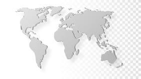 Leere Grey Abstract World Map With-Schatten-Schablone auf transparentem Hintergrund Stockfotografie