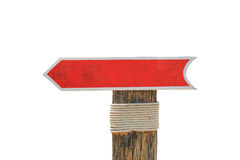 Leere hölzerne erlauben Zeiger rotes Zeichen für Hintergrund oder den Text auf Weiß lokalisiert Stockfoto