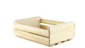 Leere hölzerne Kiste lokalisiert auf Weiß Stockfoto