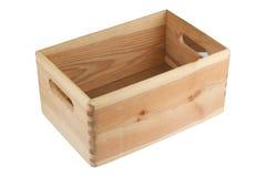 Leere hölzerne Kiste mit Griffen Lizenzfreies Stockbild