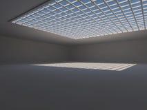 Leere helle große Wiedergabe der Halle 3D stockbild