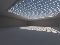 Leere helle große Wiedergabe der Halle 3D lizenzfreies stockbild