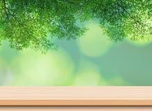 Leere helle hölzerne Tischplatte mit grünen Blättern lizenzfreies stockfoto