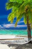 Leere Hängematte zwischen Palmen auf tropischem Strand von Rarotonga Stockfotos