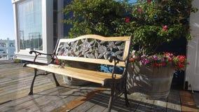 Leere Holzbank in der Park-Gasse, Sunny Day, Sun-Strahlen durch die grünen Blätter stock video footage