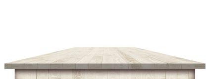 Leere Holztischperspektive mit Ausschnittsmaske Stockfoto
