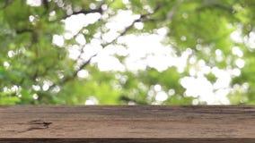 Leere Holztischschablone auf die Oberseite mit dem Naturgr?nhintergrund, der mit windigem ?ber beeinflussenden B?umen f?r Montage stock footage