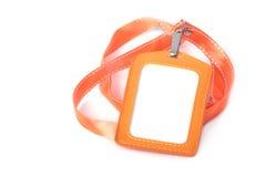 Leere Identifikation mit orange Halsbügel Lizenzfreie Stockfotografie