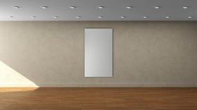 Leere Innenschablone der beige Wand der hohen Auflösung mit einzelne weiße Farbvertikalem Rahmen auf Vorderseite lizenzfreies stockfoto