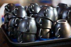Leere Kaffeetassen Stockfoto