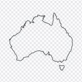 Leere Karte von Australien Dünne Linie Australien-Karte ein transparenter Hintergrund Stockfoto