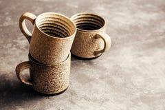 Leere keramische Kaffeetassen Lizenzfreies Stockfoto