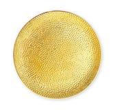 Leere keramische Platte, Goldplatte mit dem rauen Muster, Ansicht von oben lokalisiert auf weißem Hintergrund mit Beschneidungspf stockfoto