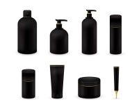 Leere kosmetische Paketsammlung stellte auf weißen Hintergrund ein Realistischer kosmetischer Flaschenspott aufgestellt Shampoo u Stockfotos