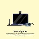 Leere Laptop-Computer Monitor-Web-Kamera Lizenzfreie Stockfotos