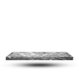 Leere Marmorplatte auf weißem Hintergrund mit Beschneidungspfad, Templat lizenzfreies stockbild