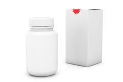 Leere Medizinflasche mit Kasten Stockfoto
