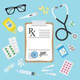 Leere medizinische Form und Pillen Verordnung Rx stock abbildung