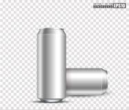 Leere metallische Dosen für Designgebrauch, lokalisierter transparenter Hintergrund, Illustration 3d stock abbildung
