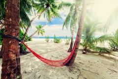 Leere Nettohängematte am tropischen Strandurlaubsort Stockbild