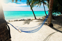 Leere Nettohängematte am tropischen Strandurlaubsort Stockfotografie
