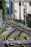 Leere Ortsleitungseisenbahn in Kamakura Stockbild