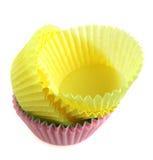 Leere Papierkästen für Cupkuchen Lizenzfreies Stockfoto