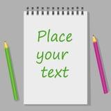 Leere pensils Notizbuch der weißen Seite Stockbilder