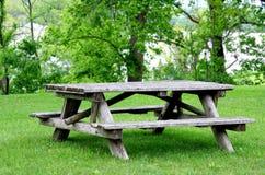 Leere Picknick-Tabelle im Park Stockbild