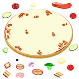 Leere Pizza und Bestandteile für sie Lizenzfreies Stockbild