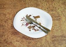 Leere Platte, Gabel und Messer Stockbilder