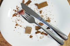 Leere Platte nachdem dem Essen stockbild