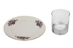 Leere Platte und glasswater Stockfoto