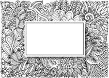 Leere Rechteckrahmen mit gezeichnetem Blumenhintergrund des Schattens an Hand für Karten, Einladung und so weiter Auch im corel a stock abbildung