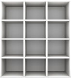 Leere Regale im Grayscale Wiedergabe 3d Stockbilder