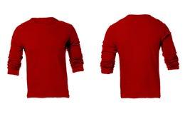 Leere rote lange Sleeved das Hemd-Schablone der Männer Stockbild