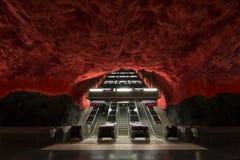 Leere rote Metro strairs in Stockholm Lizenzfreie Stockfotos