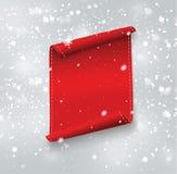 Leere rote realistische gebogene Papierfahne mit Schnee und Eiszapfen lokalisiert auf einem transparenten Hintergrund Auch im cor Lizenzfreies Stockfoto