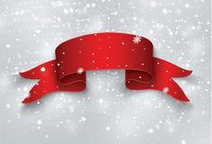 Leere rote realistische gebogene Papierfahne mit Schnee und Eiszapfen lokalisiert auf einem transparenten Hintergrund Auch im cor Lizenzfreies Stockbild