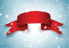 Leere rote realistische gebogene Papierfahne mit Schnee und Eiszapfen lokalisiert auf einem transparenten Hintergrund Auch im cor Lizenzfreie Stockbilder