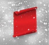 Leere rote realistische gebogene Papierfahne mit Schnee und Eiszapfen lokalisiert auf einem transparenten Hintergrund Auch im cor Stockbilder